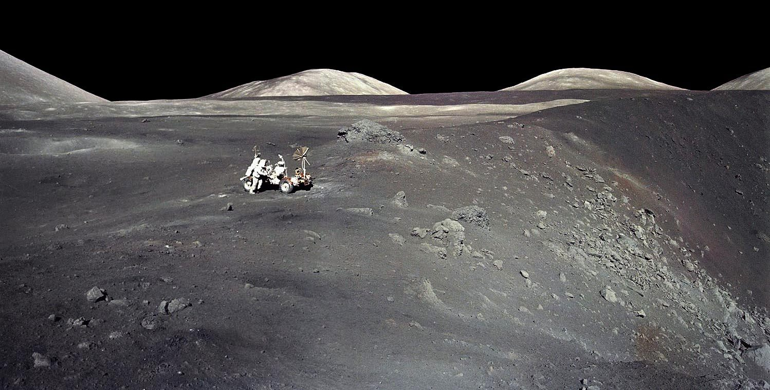 """Apollo 17 astronaut Harrison """"Jack"""" Schmitt stands next to a steep-walled crater named Shorty on Dec. 13, 1972. The UA's Jessica Barnes is among the scientists selected by NASA to be granted access to previously unopened samples, including some collected"""