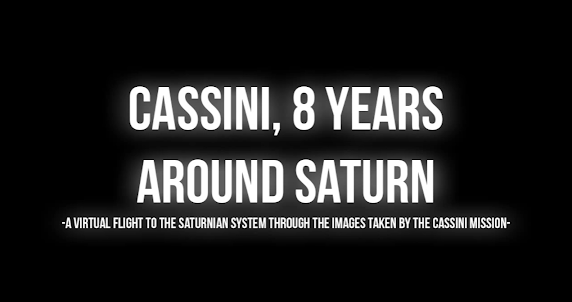 Honorable Mention, Data Art Category, title card for CASSINI, 8 YEARS AROUND SATURN
