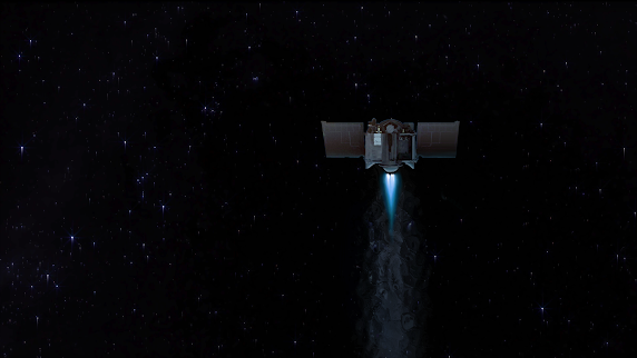 Honorable Mention, Data Art Category, OSIRIS-REx spacecraft with a blue main engine burn