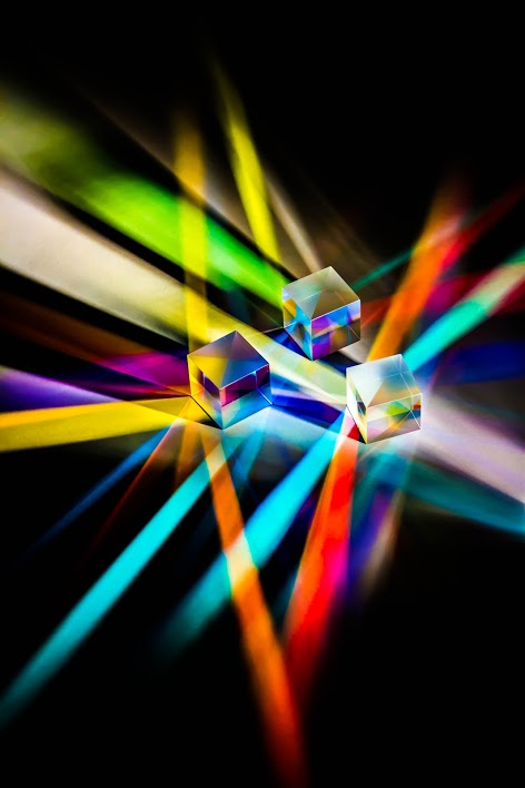 First Place, Fine Art Category, cubes refract light into a multitude of colors