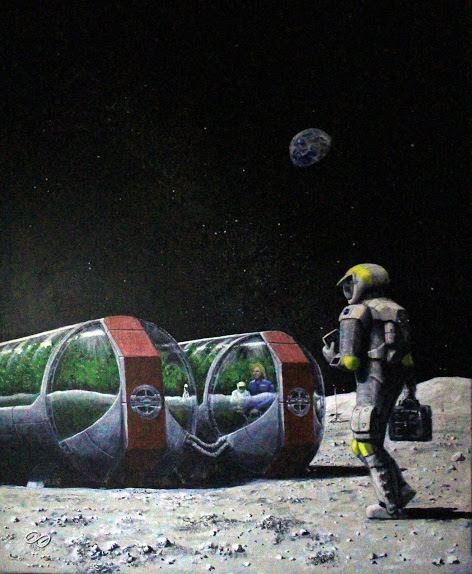 Honorable Mention, Kids Choice, Fine Art Category, astronaut on moon walking towards lunar greenhouses
