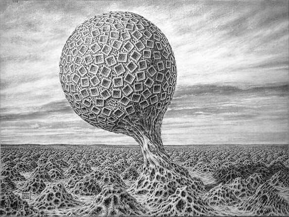 Honorable Mention, Fine Art Category, spheroid tree covered with squares