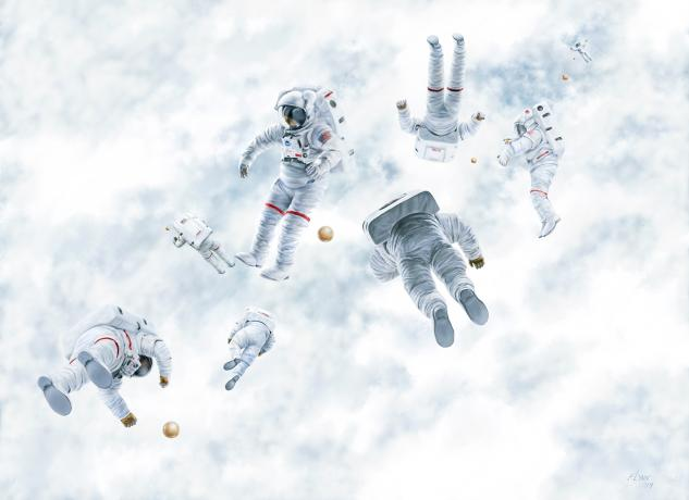 A group of astronauts tumbling in free fall over the Earth with mysterious gold spheres.