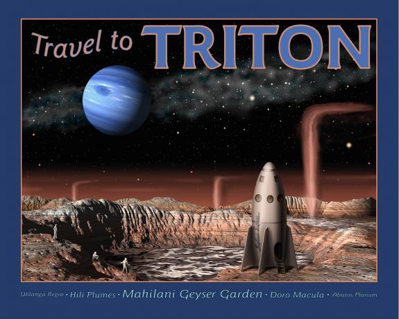 Tourists visit Neptune's moon Triton and see spouting geysers in a retro travel poster style painting.