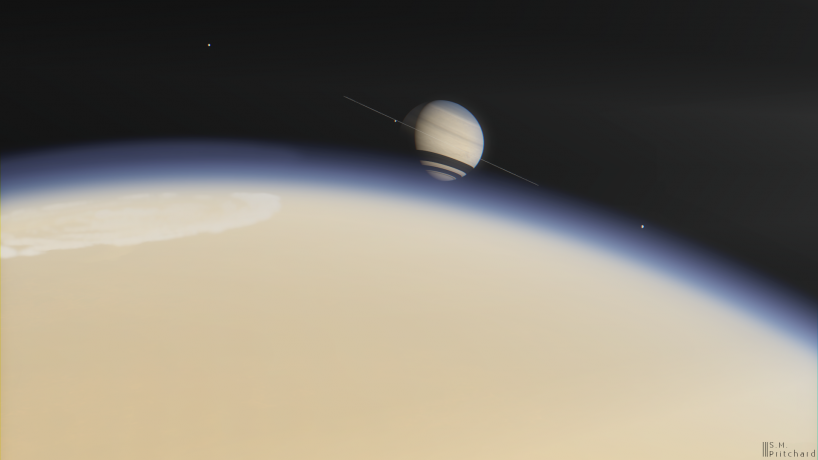 The disk of Saturn looms over the hazy limb of Titan, with a blue upper atmosphere that fades into yellow-orange haze below.