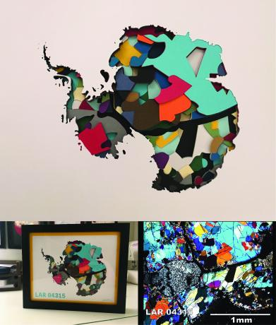 A sculpture made of stacked colored paper cut to appear as mineral grains and the outline of Antarctica as the top layer.