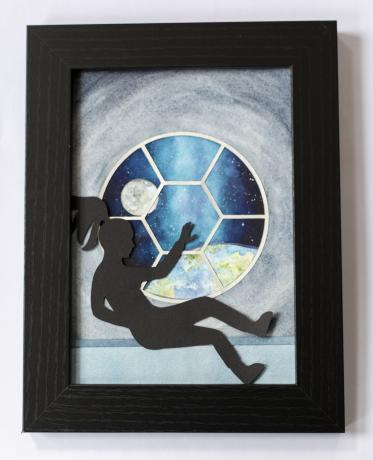 A silhouetted female astronaut floats in front of a round porthole window, which overlooks an Earth-esque planet.