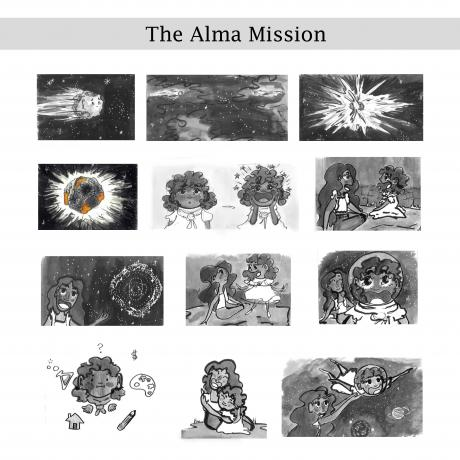 A story board of 13 images showing the story of a collision between two asteroids, which is being told two sisters.