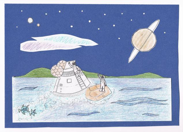 Two astronauts exit a space capsule on an ocean world with grassy hills, turtle-like fauna, an aurora, and a starry sky.