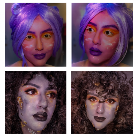 A makeup look with pink, purple, & tints of yellow & orange, & another with a base of grey & gold leaf with sculpted craters.