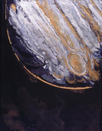Jupiter with its Great Red Spot, veiled in shimmering bands and set against the vast, inky blackness of space.