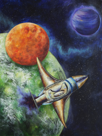 Against a backdrop of stars, a spaceship trailing purple exhaust crosses in front of three planets.