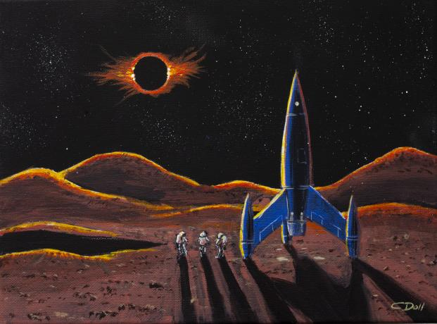 Lunar Explorers Observing the Earth Eclipsing the Sun