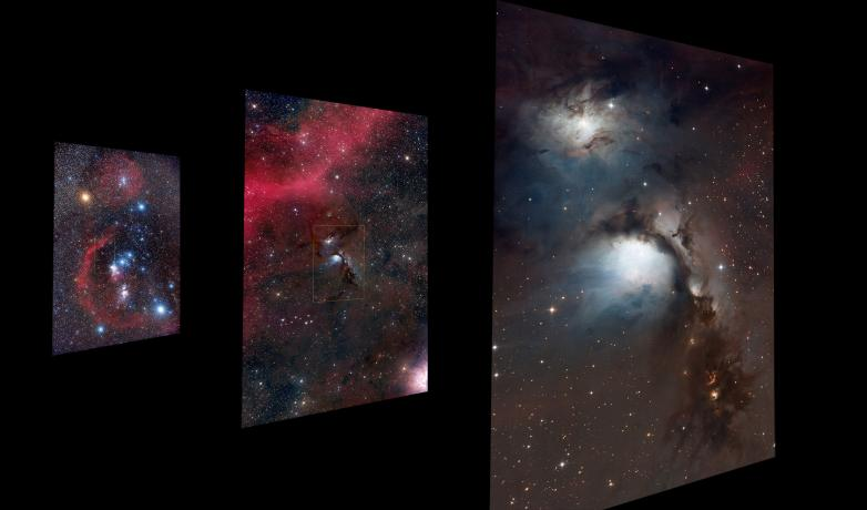 3 metal prints of the region of the sky within the constellation of Orion. Each image zooms to a smaller patch of sky .