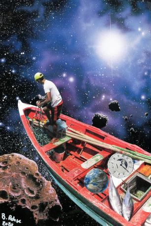 In this Papercollage, a fisherman travels through space in his fishing boat and has caught a planet and the time.