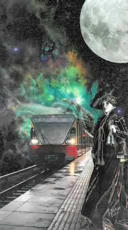 In this papercollage a train with a snail on the roof drives in a train station in space where a lady is waiting