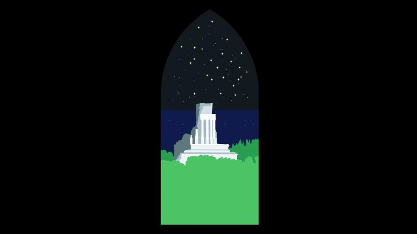 Seen through an arched window, a marble monument towers over lush coastal woods as unnumbered sparks light up the midnight sea.