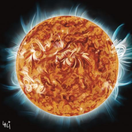Prominence is a digital painting of our Sun using data from NASA's Solar Dynamics Observatory.