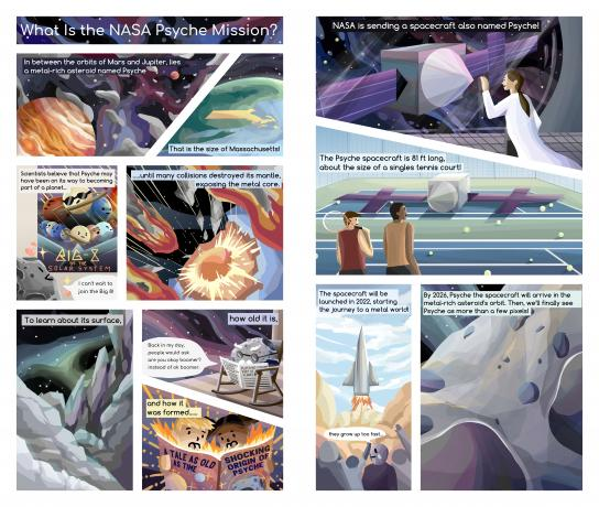 Vibrant comic panels that explain the context & history of the Psyche asteroid & shows outer space filled with stars & nebulae.