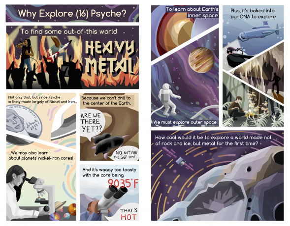 A fun comic showing the relevance of the Psyche mission: exploration & the potential ability to gain insight on planetary cores.