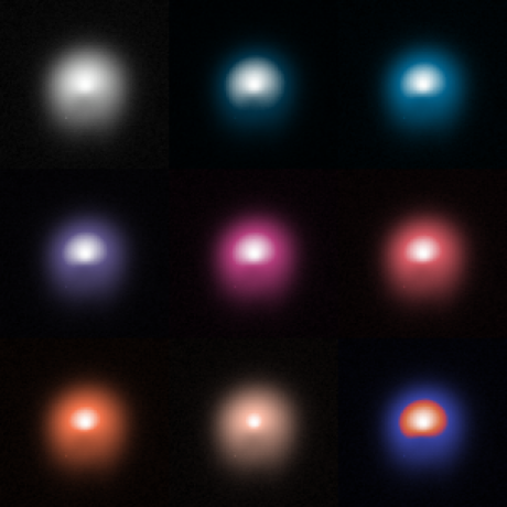 An image of a comet is shown using nine different color schemes in a three by three grid.