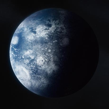 Conceptual work based on data from Astronomer Carlos Alvarez/Keck Observatory. Kepler 22b is the first confirmed planet in the habitable zone of its host star where liquid water could exist on a planet's surface. After its discovery, it was validated using data from Keck Observatory's HIRES instrument.
