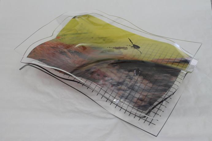 Structure composed of 3 sheets of screen-printed and thermoformed Plexiglas 21 X 15 X 5 in.