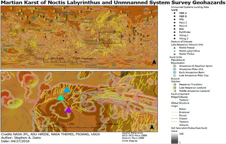 A map of potential caves for exploration on Mars near Noctis Labyrinthus along with geohazards to surveying rovers.