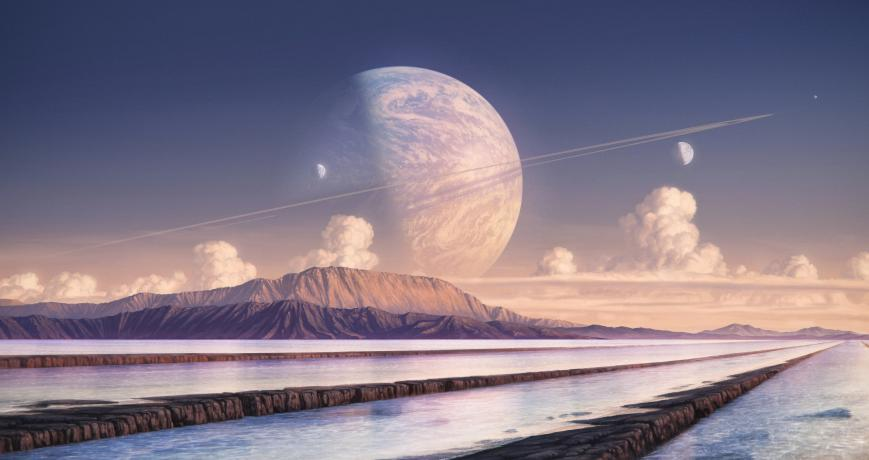 A ringed super earth visible in the sky of one of it's moons.