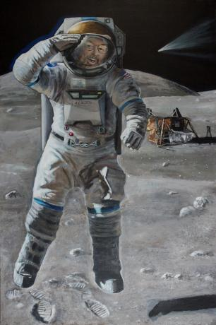 An Astronomer tourist visits the site of the Apollo 15 landing