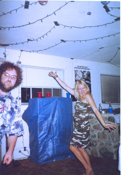 Andy lurking, Ingrid posing.