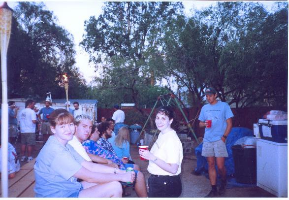 Abby, Nick, Chris, and Andy, with Adina and Matt standing.