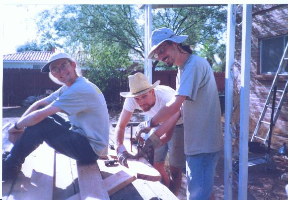 The weekend before the Fest, Paul, Joe, and Dave work on a new picnic table, Joe's parting gift to Hawthorne House.