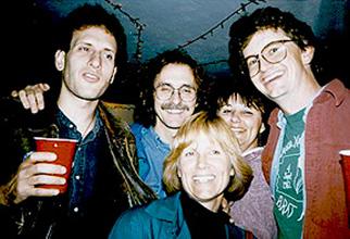 Dave Grinspoon, John Spencer, Nadine Barlow, Nick Schneider, and Jane Spencer celebrate a reunion Bratfest.