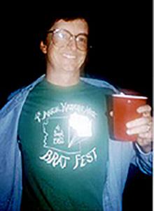 Nick Schneider proudly displays his original Bratfest 4 T-shirt!