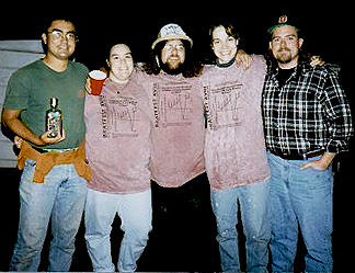 Laszlo Keszthelyi, Cynthia Phillips, Andy Rivkin, Kim Cyr, and Bob Reid, the inhabitants of Hawthorne House and hosts of the 1996 Bratfest.