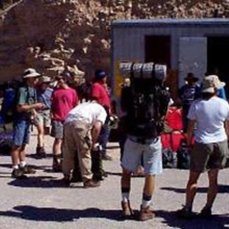 We got our gear ready to go and got our first look down into Havasupai Canyon.