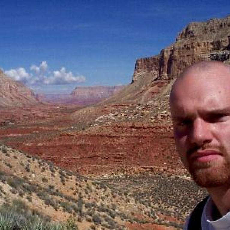 We hiked further down into the canyon under a fierce Arizona sun.