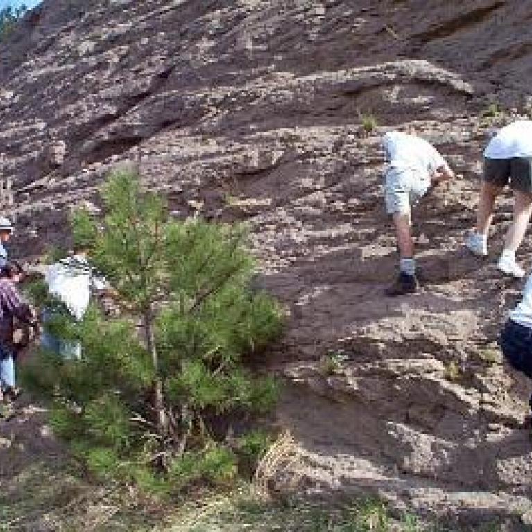 We stopped at the La Cueva ash flows.
