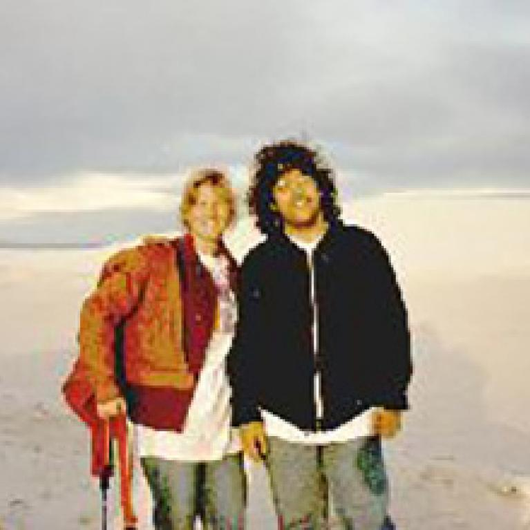 Andy and Val among the gypsum dunes.
