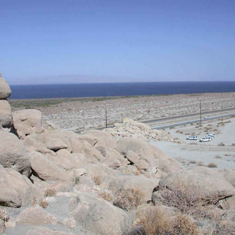 We stopped in the afternoon near the Salton Sea. Here Ingrid regaled us with tales of Travertine Rock, ancient Lake Chuilla, the Salton Trough, and palaeoshorelines.