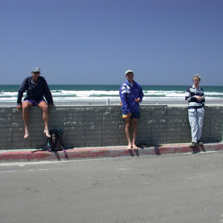 Day 2. Our first beach stop was in San Diego. Adam and Adina went paddling and tried to demonstrate longshore drift.