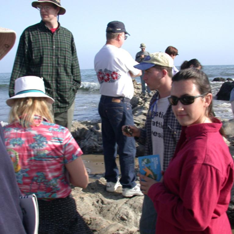 Everyone poses at the beach.