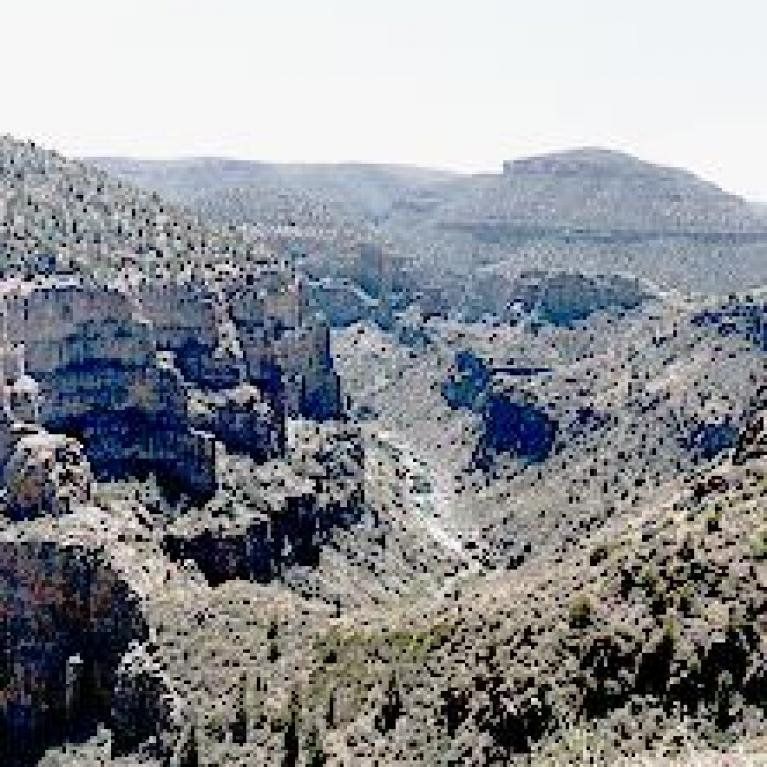 The Salt River Canyon and some funky rock folding in it.
