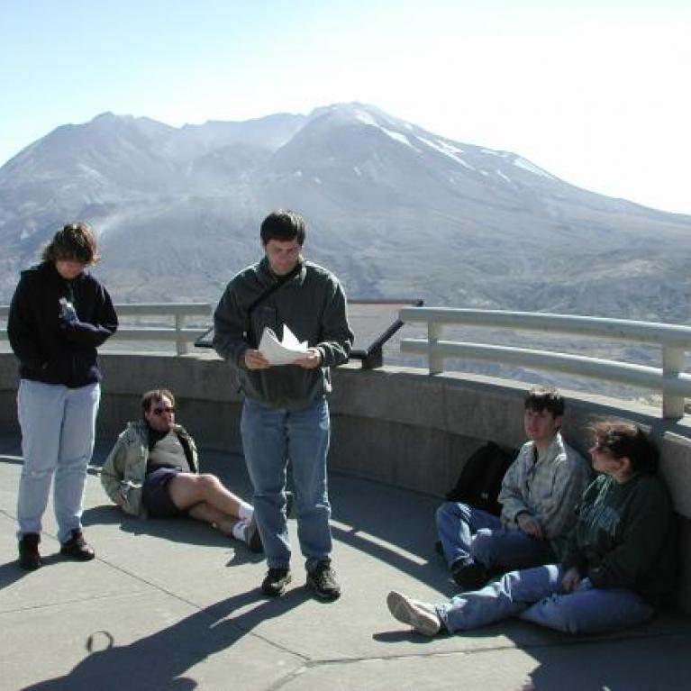 People at the Johnston Ridge Observatory.