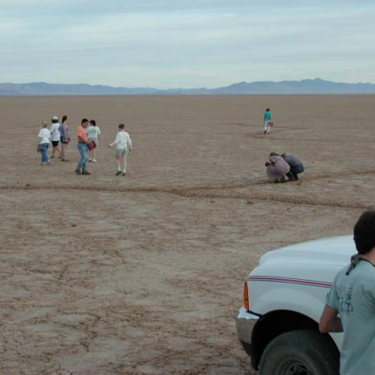 """Jay became very enthusiastic and started screaming """"We've got giant cracks!"""" as we drove across the playa."""