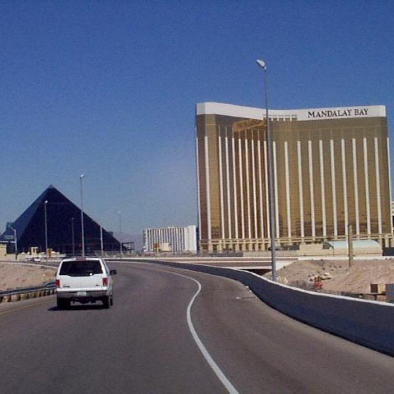 """Driving west, some of us made a mysterious """"wrong turn"""" that took half the convoy down the Las Vegas Strip."""