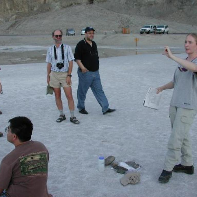 Fred and Devon talked about gravel fans, Adina gave several talks on fault scarps, and Andy reported on (unpublished) experiments concerning desert pavement. We even had some tourists listening attentively!