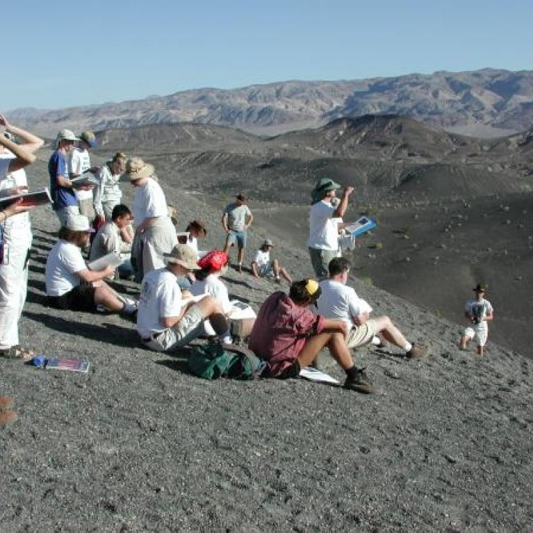 Day 3. Ross started our day with a case of the Ubehebejebes (TM) with the tale of Ubehebe crater, a spectacular example of a phreatic eruption.