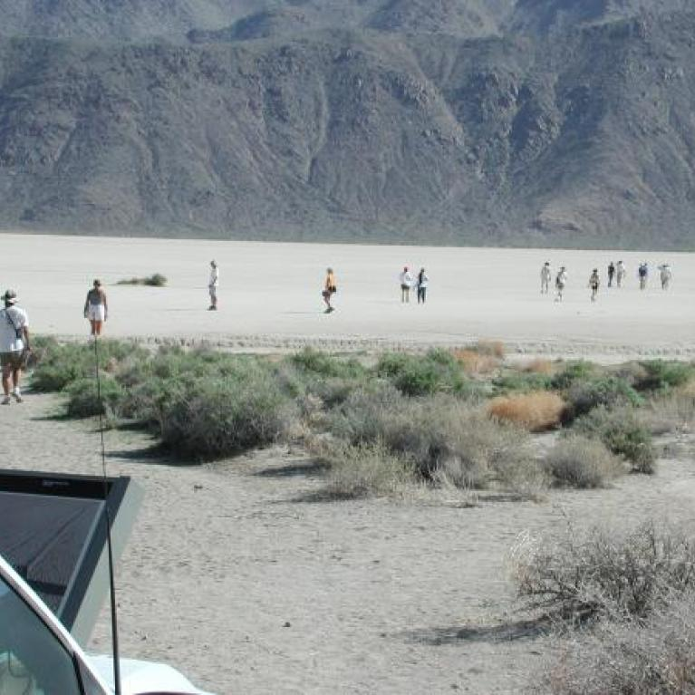 A bouncy ride along a dirt track took us to the intriguing Racetrack Playa and its myserious moving stones.